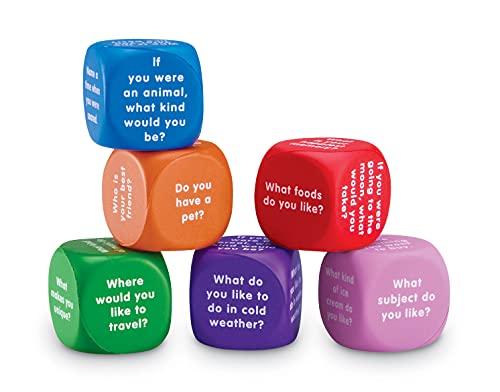 Learning Resources Cubos de conversación, dados sociales, terapia de autismo, cubos para romper el hielo, cubos de espuma, 6 piezas, edades 6 +