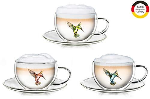 Creano Thermo-Tasse Hummi doppelwandige Tee-/Latte Macchiato-/Thermotasse Kolibri im 3-er Set mit Untersetzer 250 ml in exklusiver Geschenkbox, blau / rot / grün