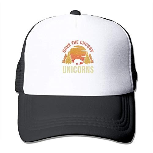 Myhou Save The Chubby Unicorns Sonnenschutz Mesh Baseball Cap Trucker Hat Unisex Schwarz