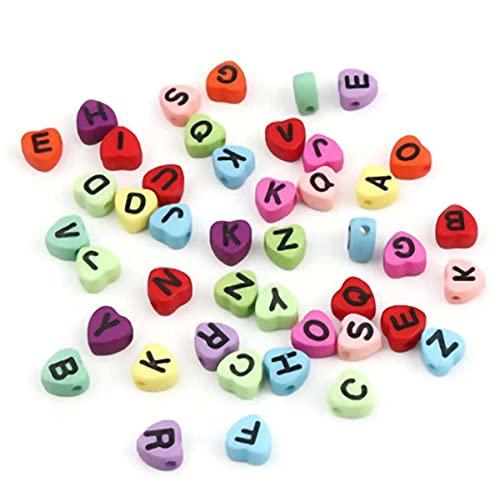 Sadingo Juego de cuentas de letras (7 mm, 300 unidades), cuentas de corazón de colores para manualidades, pequeñas letras mixtas, pulseras, cadenas