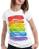 style3 Bandera arcoíris Camiseta para Mujer T-Shirt LGBT Amor tolerancia, Talla:M