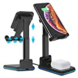DM Wireless Charger Phone Holder for Desk, 2 in 1 Dual Wireless Charging Stand 10W Qi Fast Charger Compatible with iPhone 12/11/Pro/Xs/Max/XR/X/8/8P, Samsung S10/S9/S8/Note10, AirPods Pro Black