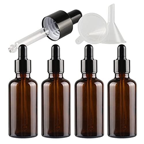 ZEOABSY 4 Pieza, Vacío 50ml Marrón Ámbar Botellas de Botellas de Cuentagotas Cristal, con anillo de negro y pipeta, para Aceite Esencial, Masaje,Fragancia, Aromaterapia, Laboratorio
