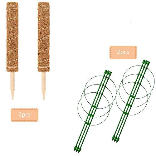 2PCS de 42CM de fibra de coco para plantas 2PCS de 45CM para plantas soporte de triple pilar para el hogar enredaderas, extensión de soporte de plantas, plantas de interior, plantas en maceta