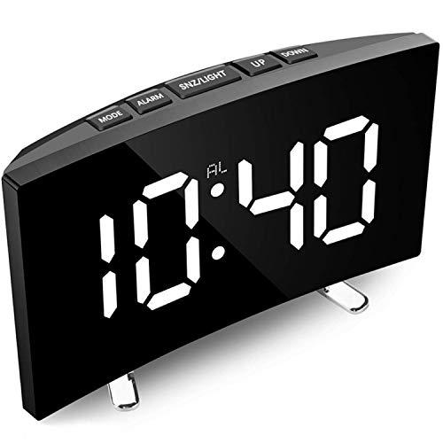 Didad Despertador Digital, Reloj Digital con Pantalla LED Regulable Curvada de 7 Pulgadas para Dormitorio Infantil, Reloj Blanco Grande, FuncióN de RepeticióN, 12/24 Horas, Puerto USB