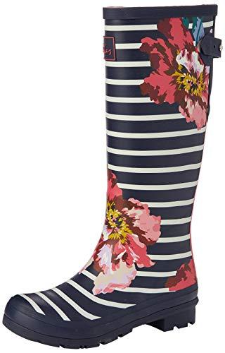Joules Damen Welly Print Gummistiefel, Marineblaues Blumenmuster, 38 EU