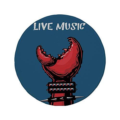 Alfombrilla de ratón Redonda de Goma Antideslizante Indie Garra de Cangrejo con Pulseras Puntiagudas Heavy Rock Música en Vivo Música de presentación Arte Decorativo Azul Rojo Negro 7.9'x7.9'x3MM