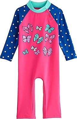 Coolibar UPF 50+ Baby Beach One-Piece Swimsuit - Sun Protective (18-24 Months- Aloha Pink Butterflies)