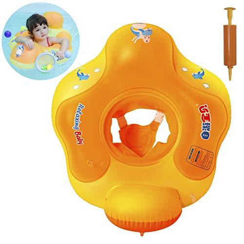 Myir Schwimmring Baby mit Rückenlehne, Aufblasbare Baby Schwimmsitz Schwimmhilfe Swimtrainer Schwimmtrainer Kinder Kleinkind Schwimmreifen Float (Orange, S, 3 Monate-18 Monate)