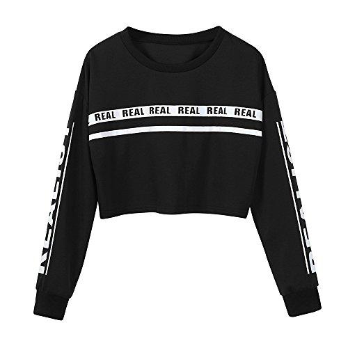 Felpa da Donna Crop Top Stampa di Lettere,Ragazza Manica Lunga Maglietta Camicette T-Shirt Yoga Fitness Calcio Sportiva Maglione Felpe Corte Tumblr Pullover Elegante Autunno