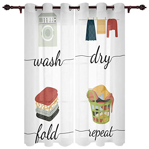 """Simple Drawn Dry Wash Fold Repeat Window Curtains with Grommets Kitchen Drapes, Daily Routine Laundry Room 2 Panels Window Treatment Drapes for Living Room/Bathroom/Office 55"""" W x 39"""" L"""