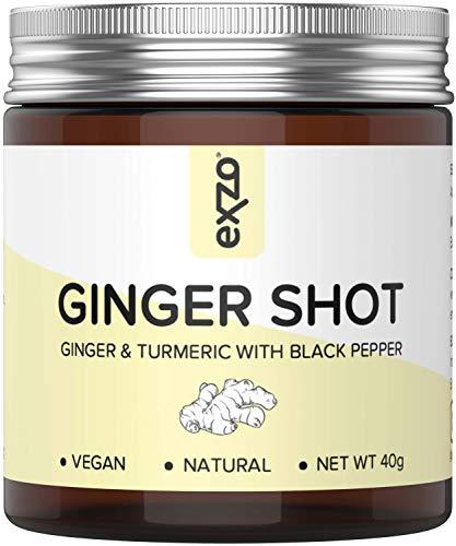 Polvo de chupito de jengibre con cúrcuma, pimienta negra, vitamina C natural y zinc – 30 tragos de bebida saludables