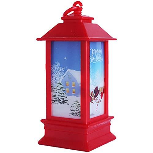 Linterna de Navidad de 4 piezas, Linterna de Jardín de Navidad, Candelabro de Luz de Linterna de Navidad, Navidad LED para Decoración Interior al Aire Libre