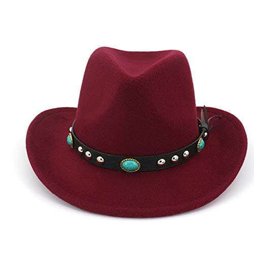 XinQuan Wang Fedora Sunhat Mannen Vrouwen Hoeden van vilt Ribbon Band Western Cowboy Hat Black 6 kleuren Trilby Bowler Hat for Unisex (Color : Wine Red, Size : 56-58)