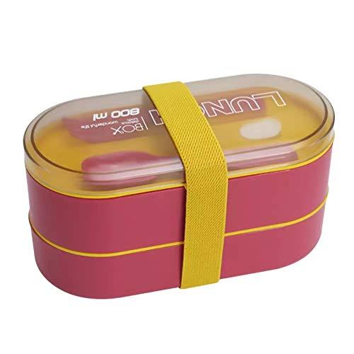 Junior one grocery Fiambrera de Material Saludable de Doble Capa con Tenedor y Cuchara Cajas Bento para microondas Juego de vajilla Contenedor de Almacenamiento de Alimentos-Rojo