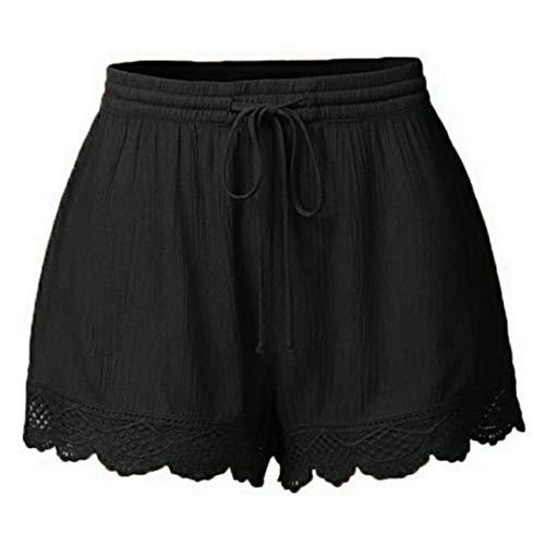 Women Shorts, Lace Plus Size Casual Hot Pants Summer Drawstring Short Pants (Black, L)