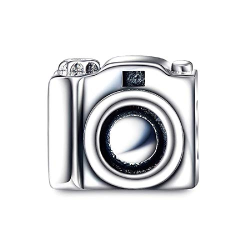 FeatherWish Charm-Anhänger Love My Vintage Kamera Sterling-Silber 925 Zirkonia für Pandora-Armband