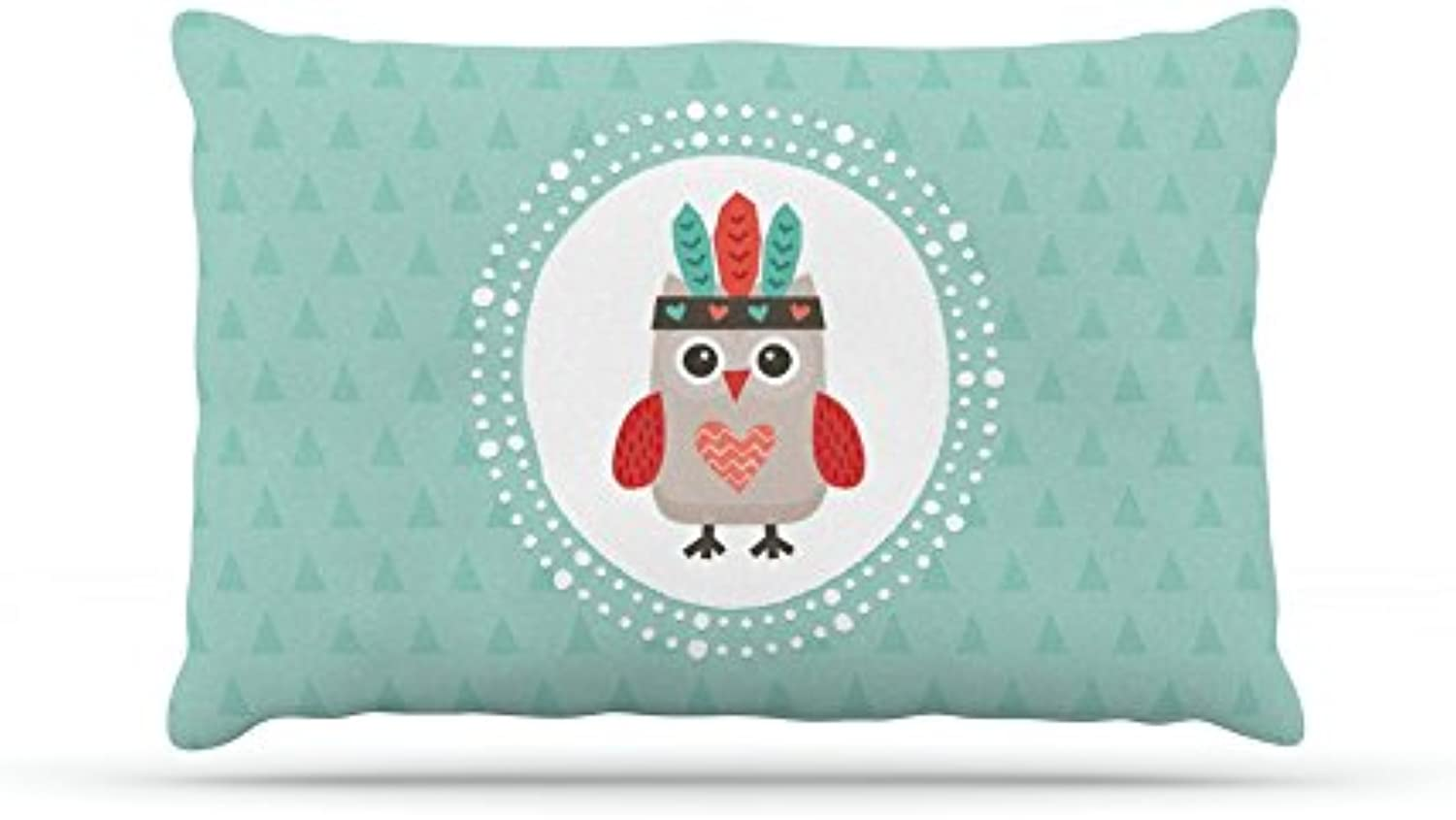 Kess InHouse Daisy Beatrice Hipster Owlet Mint Coral  Teal Fleece Dog Bed, 30 by 40