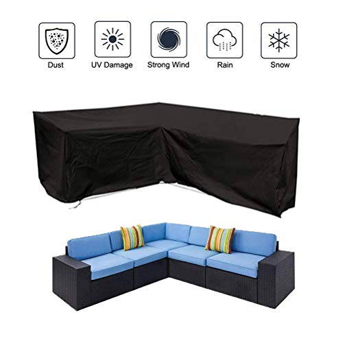 Oslimea Patio V-Shaped Sectional Sofa Cover Waterproof, Outdoor Sectional Furniture Cover Outdoor Sofa Cover L-Shaped Garden Couch Protector 84.6' L (on Each Side) x 34' D x 31.5' H