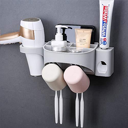 JIA JU Zahnpasta Automatic Dispenser Zahnbürstenhalter Squeezer Kit Anti-Staub mit Wand Badezimmer Zubehör Elektrische Zahnbürste Storage Set Automatische Zahnpastaspender (UnitCount : 2 Cups)