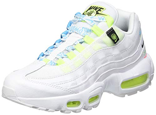 Nike W Air MAX 95 SE WW, Zapatillas para Correr Mujer, White White Volt Blue Fury Black, 38 EU