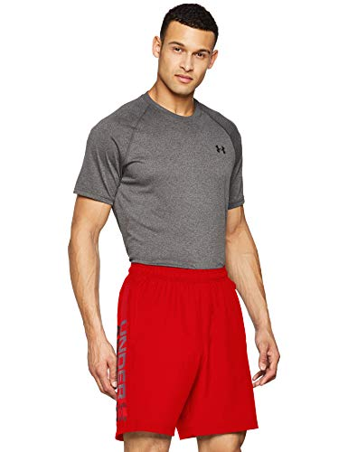 Under Armour Woven Graphic Wordmark Shorts Pantalones de hombre, pantalón corto ultraligero y transpirable, cómodo y ancho pantalón de deporte, Red/Black (600), MD