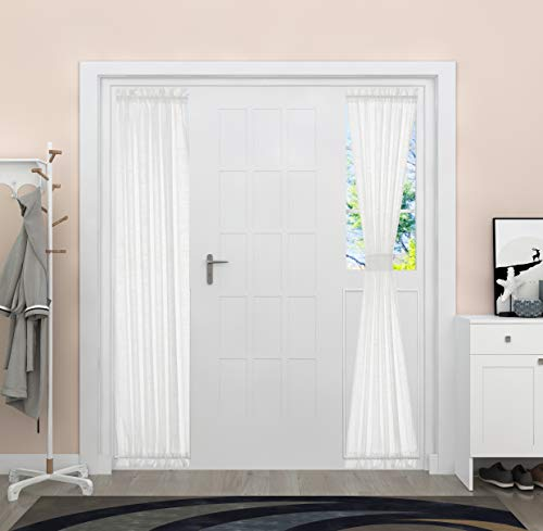 Aquazolax Privacy Curtains for Side Lights Window White Linen French Door Curtain Panels Semi Sheer Door Curtains Window Treatment for Front Entry Door, 1 Panel, W30 x L72 Inches