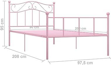 VIENDADPOW Lits & Cadres de lit Cadre de lit Rose Métal 90 x 200 cm