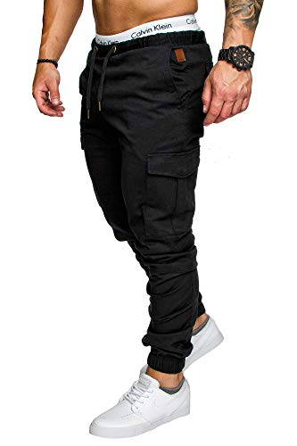 Amaci&Sons Jogger Cargo Herren Chino Jeans Hose 7001 Schwarz W32