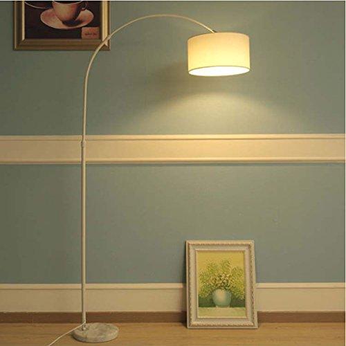 LOFAMI Lumière minimaliste nordique de pêche de bureau, lampe debout de plancher d'ombre de tissu de base de marbre, lampe de plancher en métal pour le salon (Color : White)