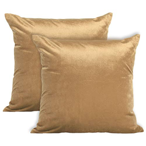 Encasa Homes VELVET Cushion Covers 2pc Set (60 x 60 cm) - Gold - Solid Plain Colour Dyed, Soft & Smooth, Washable, Square Decorative Large Throw Pillow Case for Couch, Sofa, Chair, Bed & Home