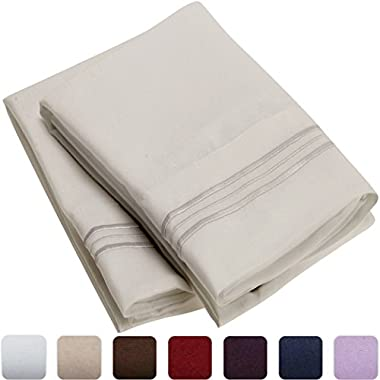 Mellanni Luxury Pillowcase Set - HIGHEST QUALITY Brushed Microfiber 1800 Bedding - Wrinkle, Fade, Stain Resistant - Hypoallergenic (Set of 2 King Size, Light Gray)