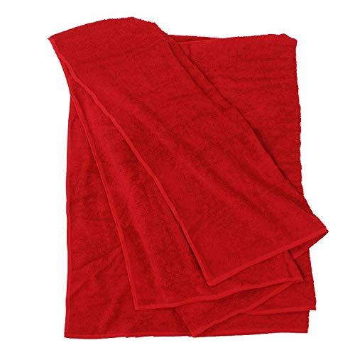 Rotes Handtuch von Big-Basics in Größen bis 155 x 220 cm, Größe:155x220