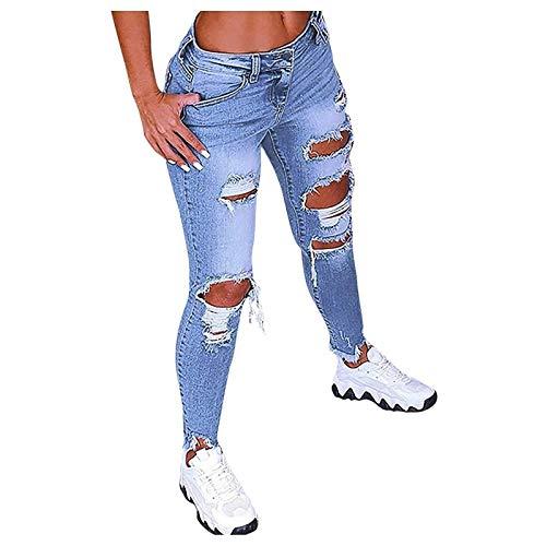 SKYWPOJU High Waist Ripped Jeans Damen Jeanshosen Damen Löcher Skinny Jeans Hose Damen Zerrissene Destroyed Denim Jeans Relaxed Damen Stretch Slim Fit Gerissene Kaputte Hose Jeans Leggings Frauen Groß