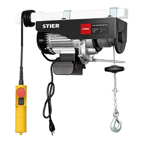STIER Elektrischer Seilzug, Tragkraft 250 kg, Leistung 500 W, Hebehöhe bis 12 m, inkl. Befestigungsbügel, einfache Montage, hohe Sicherheit durch Not-Aus-Schalter
