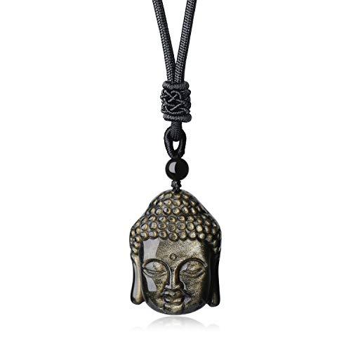 COAI® Collar Ajustable de Colgante Piedra Mala Ojo de Tigre Cabeza de Buda