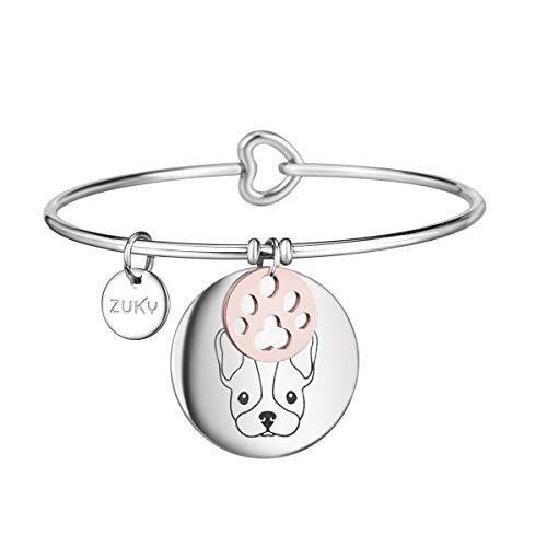 ZUKY Bracciali in acciaio dedicati agli amanti degli animali (Bulldog Francese)