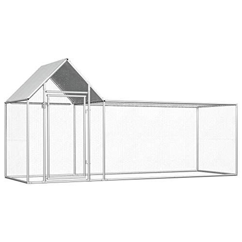 vidaXL - Pollaio impermeabile per tetto di gallina, casetta per pollame e pollame da corsa, 3 x 1 x 1,5 m, in acciaio zincato