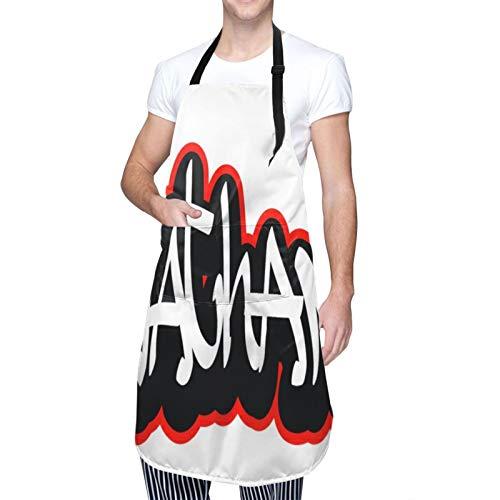 Ajustable Colgante de Cuello Personalizado Delantal Impermeable,Nathan Graffiti Estilo de fuente Nombre Diseño de hip-hop,Babero de Cocina Vestido para Hombres Mujeres con 2 Bolsillos Centrales