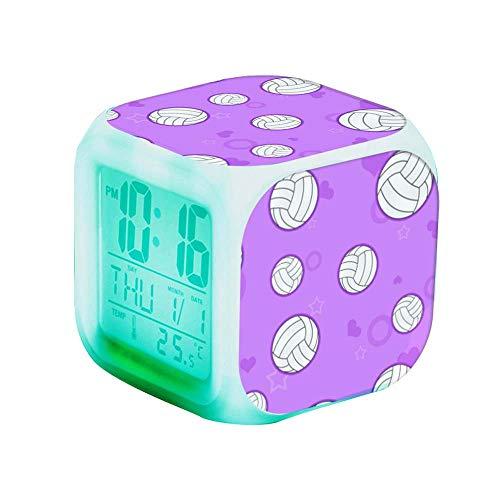 QCNZ1 Teen Alarm Clock Kids Girls Boys LED Digital Bedrooms Alarm Clock Easy Set Clocks with Pattern 314.Cute Volleyball Pattern Purple clockDesk Bedrooms Decor