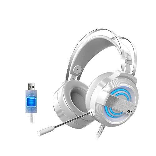 AYDQC Auriculares de Gama de Alta Gama 7.1 Auriculares de Juego estéreo de Canal con 360DEG;Micrófono de reducción de Ruido 7 Colores respiratoria Blanca fengong