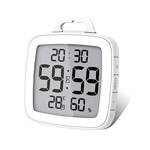 BALDR Badezimmeruhr Küchentimer, Digitaler küchenuhr IP54 Wasserdicht Duschuhr Wanduhr mit LCD Display Thermometer Hygrometer Countdown Timer, Ideal Für Küche, Bad, Büro