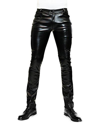 Bockle Pantalones de Cuero Hombre varón Cuero de imitación Faux Leather Tube Skinny Slim Fit Ajustados, Size: W32/L34