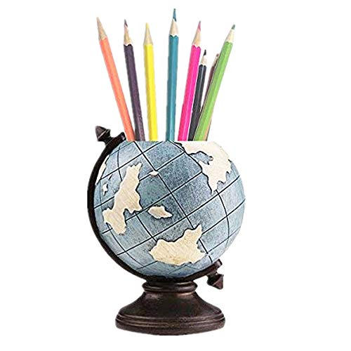 MUAMAX Globe Pen Holder Desk Pencil Cup Pot Desk Organizer Brush Holder Vintage Gifts