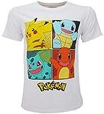 Pokémon – Camiseta original blanca con 4 personajes Pikachu oficial, camiseta para niño Bianco 7-8 Años