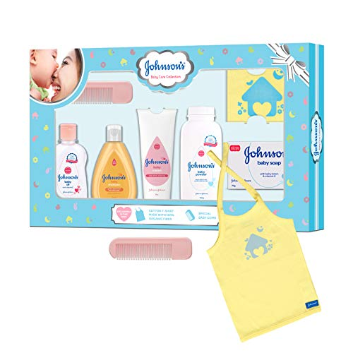Johnson's Baby Care Collection Baby Gift Set with Organic Cotton Baby T-Shirt (7 Pieces)