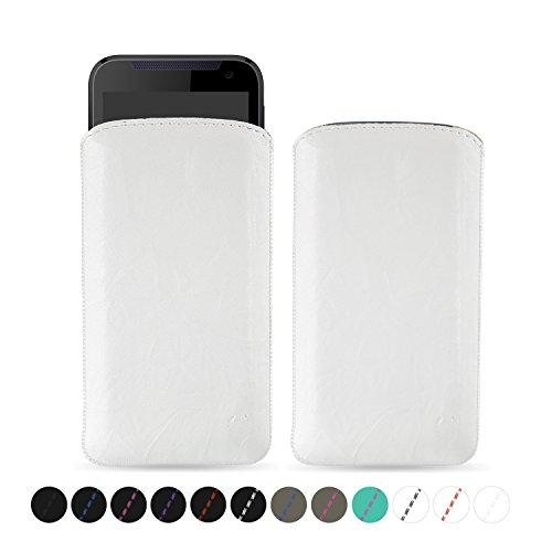 MediaDevil HTC Desire 310 Lederhülle (Weiß mit weißen Nähten) - Artisanpouch Hülle aus echtem europäischen Leder mit Ausziehlasche