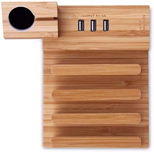 ZHICHUAN Bamboo Wood USB Charging Station Fit Desk Stand Charger for iPhone Samsung Fast Charging 3A for Ipad Tablet Wireless Direct Charge