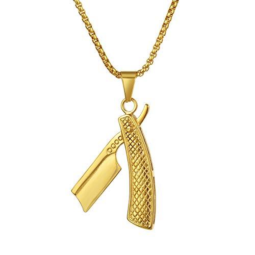 Valily Herren Friseur Schmuck Gold Anhänger mit Kette Edelstahl Friseur Rasiermesser Halskette Geschenk für Männer