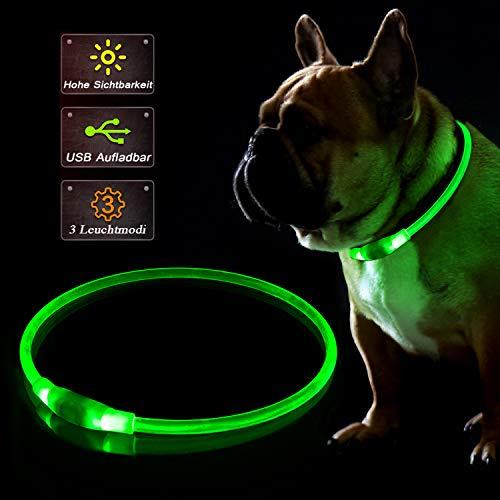 KABB LED Hundehalsband, USB Wiederaufladbares Blinkhalsband für die Sicherheit bei Nacht, Verstellbares, Wasserdichtes, Hell Beleuchtetes Halsband für Hunde - Eine Grösse passt Allen, Grün
